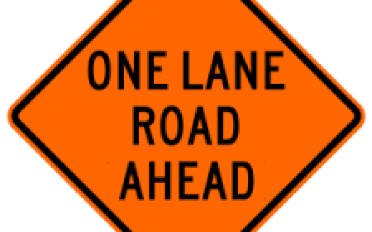 Sign—one lane road
